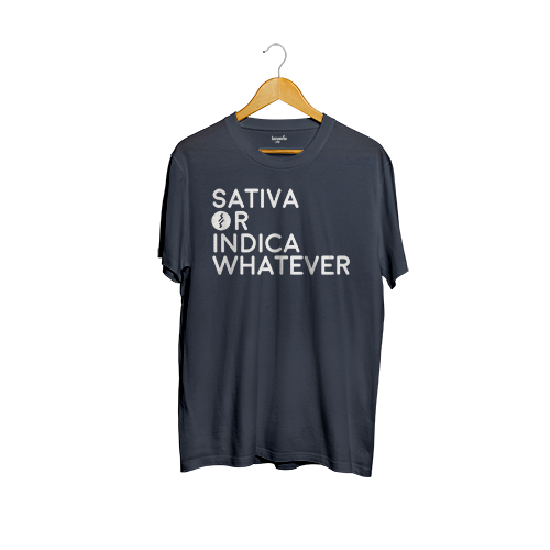 Camiseta SmartShop Unisex  Azul - Sativa or Indica Wherever